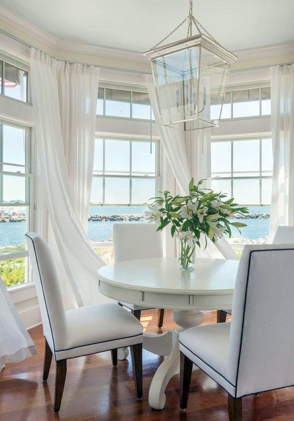 Буфет, занавески, столовая, украшение, белый круглый стол.