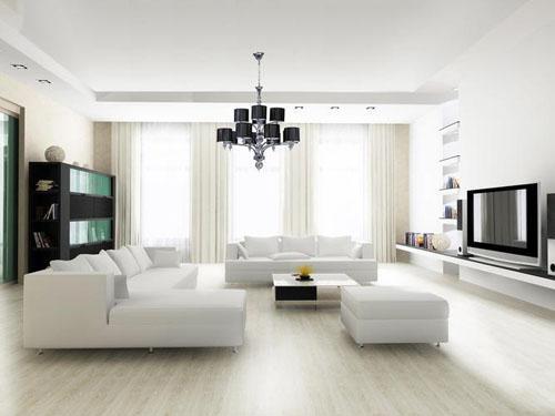 Белый цвет стен в гостиной в экологическом стиле.