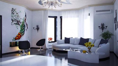 Белые стены украшены красивыми росписями. На полу в гостиной паркет.