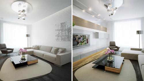 Диван угловой в гостиной с белыми стенами.