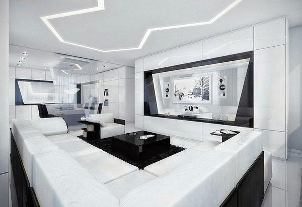 Черный и белый интерьер модульный диван серый ковер