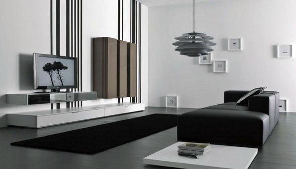 Черный и белый дизайн идеи белый диван набор
