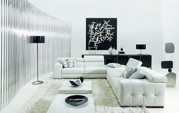 Черно-белый дизайн современный интерьер диван журнальный столик
