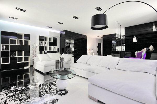 Минималистский дизайн гостиной черный и белый интерьер черный диван
