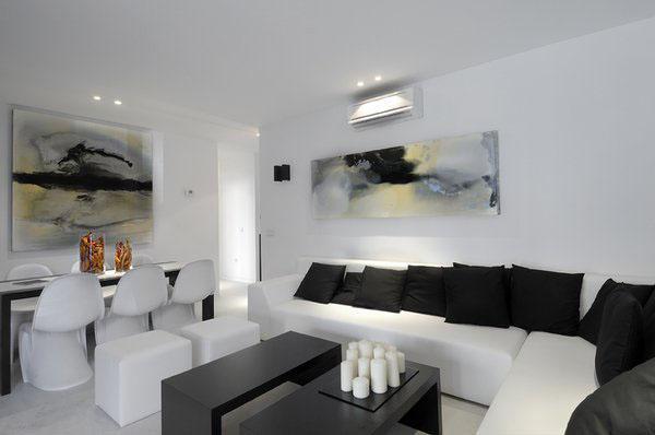 Современная гостиная идеи черно-белый дизайн гостиной белый диван