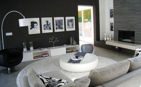 Черный белый дизайн гостиной черный цвет стены белый журнальный столик