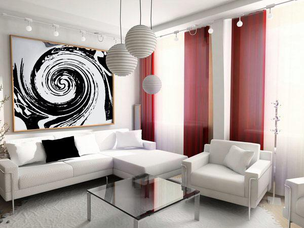Черная и белая гостиная дизайн интерьера красный акцент цвет шторы
