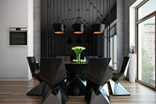 Современный дизайн черной столовой, набор мебели, подвесная люстра.