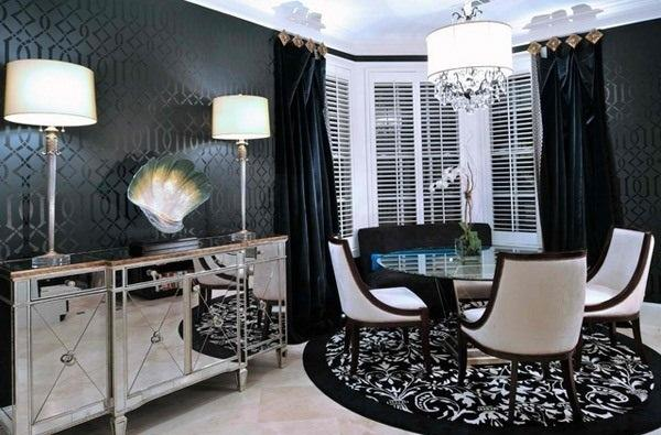 Черные обои, черные занавески и ковры, белые осветительные приборов.