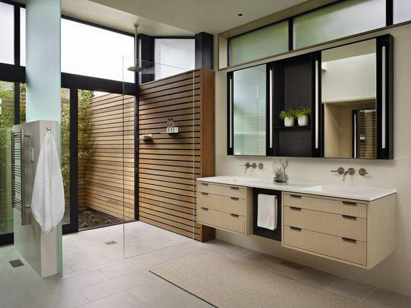 Элегантный плавающий туалетный столик с двойными раковинами