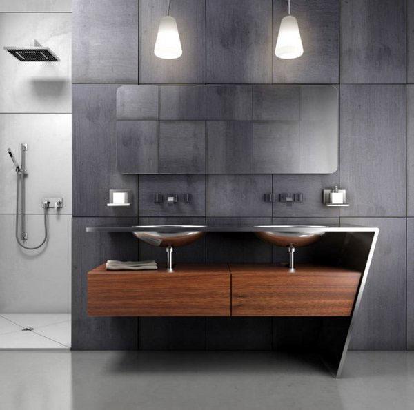 Нержавеющая сталь двойной раковиной деревянный шкаф современный дизайн мебели для ванной…