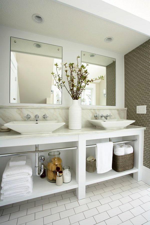 Белая двойная раковина тщеславие идеи дизайна промышленный стиль ванная комната декор идеи