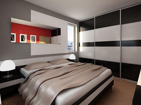 Интересная идея спальни с утопленной полкой для книг