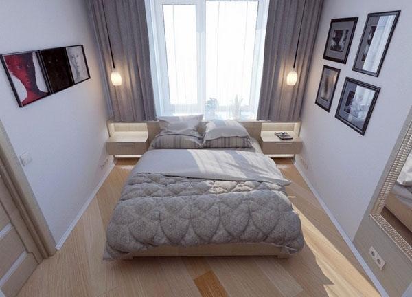 С виду простая, но очень продуманная спальня.
