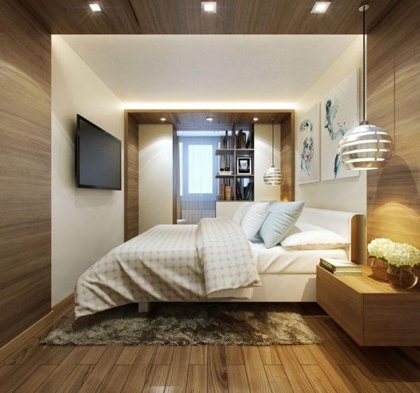 Телевизор в современной спальне.