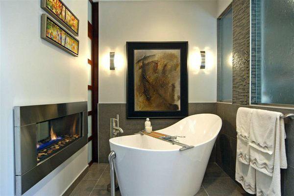 Современная ванная комната отдельно стоящая ванна