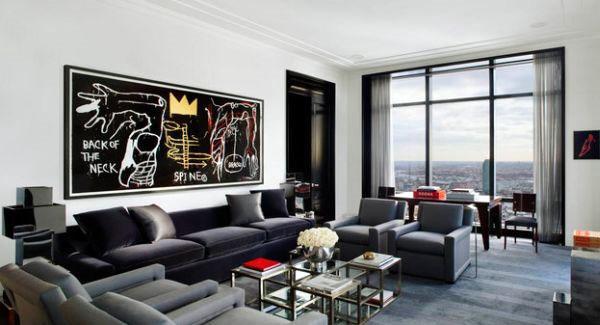 Серая гостиная дизайн стильной стены искусство украшенная идея.