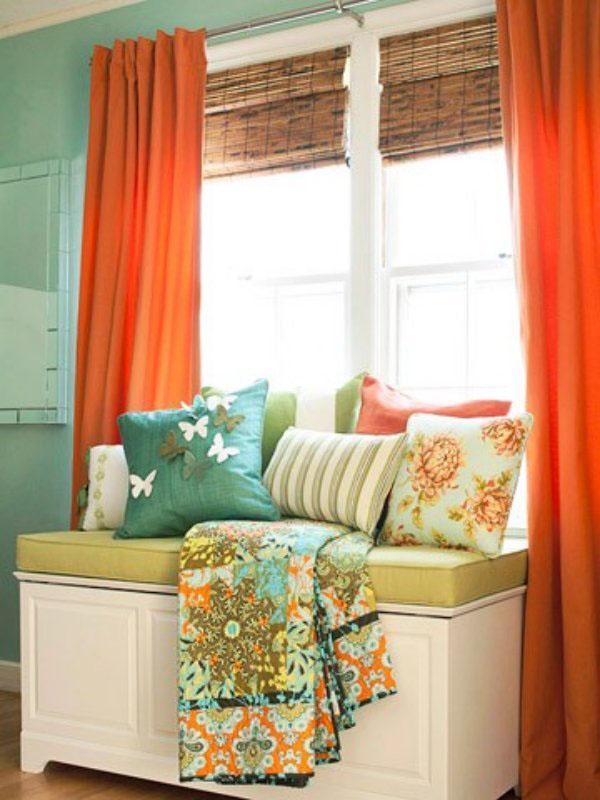 Жилая комната занавески идеи оранжевый цвет