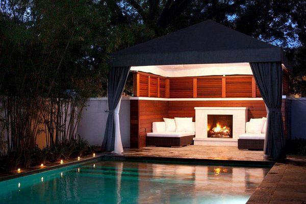 Современные идеи для наружного камина - хорошее планирование ландшафта внутреннего дворика очень важно.