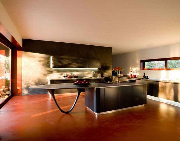 Современный кухонный остров белый минималистский дизайн