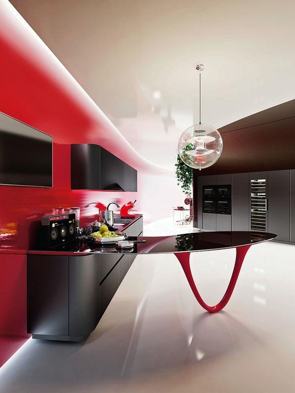 Удивительные кухни потрясающий кухонный остров черный и красный ультрасовременный дизайн….
