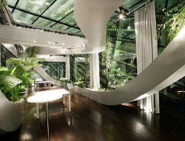 Идеи для внутреннего садоводства лестницы деревянные стеклянные перила.
