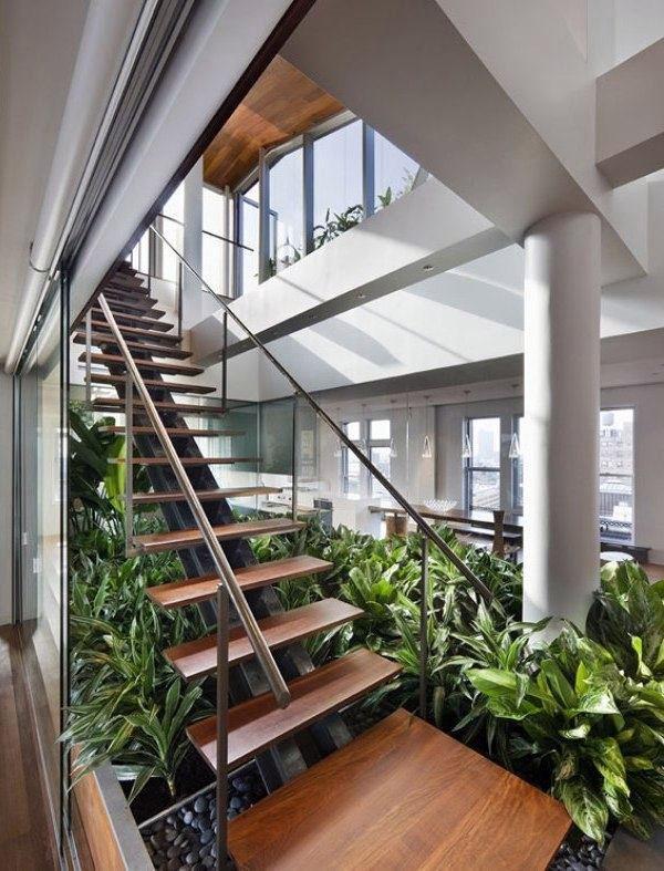Экологичные интерьеры,  деревянные ступени, крытые садовые растения.