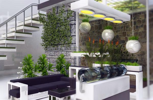 Внутреннее озеленение добавляет свежий акцент в декоре.