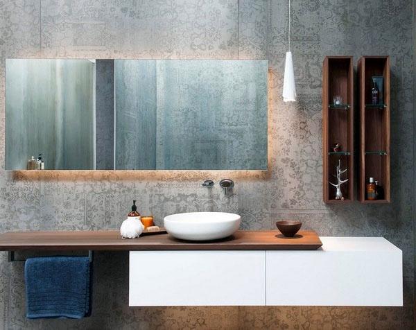 Современные бетонные стены ванной комнаты