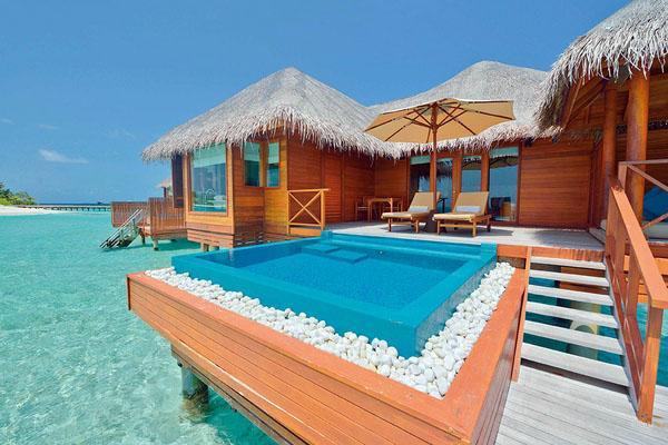 Тропический пейзаж бассейн палуба шезлонги