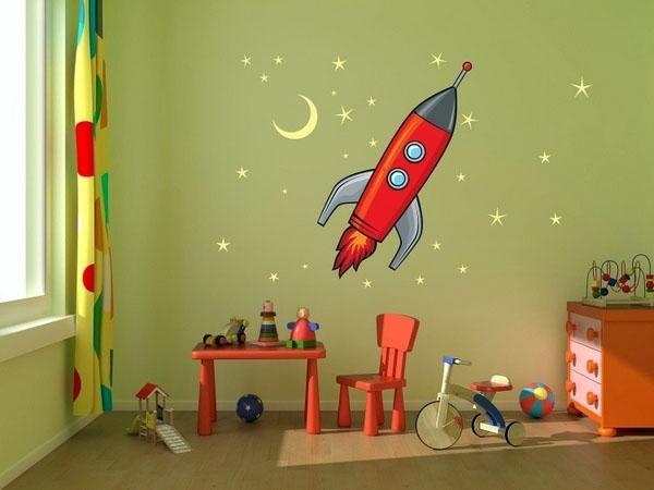 Ракета, наклейка на стену.