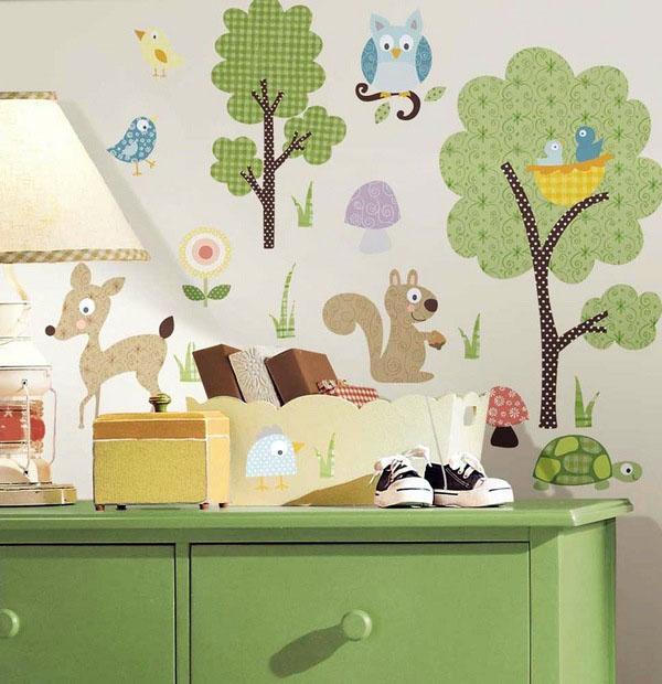 Милые спальни детская комната, декорация лесные животные.