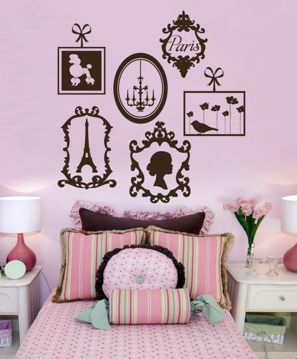 Стильная розовая детская, спальня девочки, фрески парижский мотив.