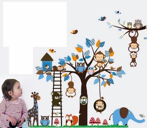 Стенные наклейки игривые обезьяны.