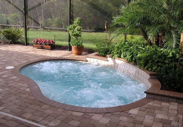 Садовый бассейн, дизайн густые посадки декоративных растений, плитка тротуарная.