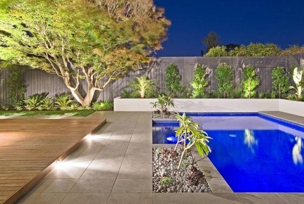 Садовый дизайн бассейна.