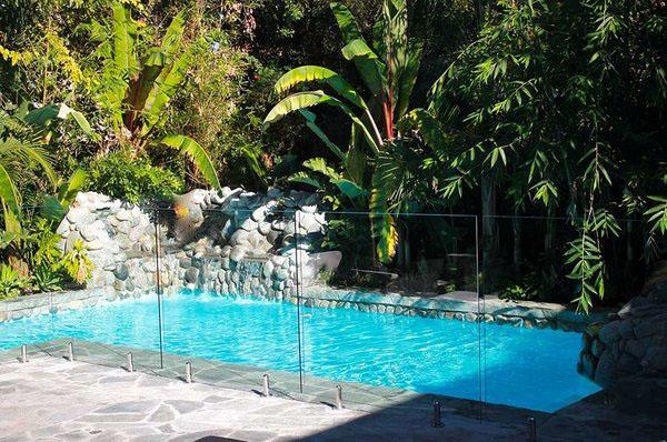 Прозрачный дизайн сада идеи бассейн декор.