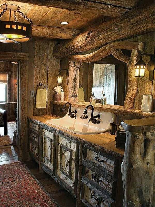 бревенчатый домик-декор-идеи-простоватые-Bathroom-дизайн-идеи