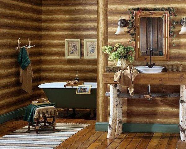 бревенчатый домик-декор-идея-ванная комната-декор-идея-зонная ковер-стул