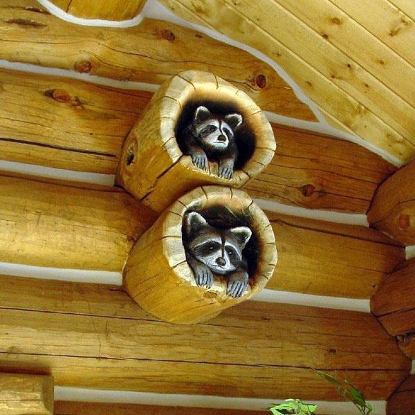 бревенчатый домик-декор-идеи-стенные украшения-идеи