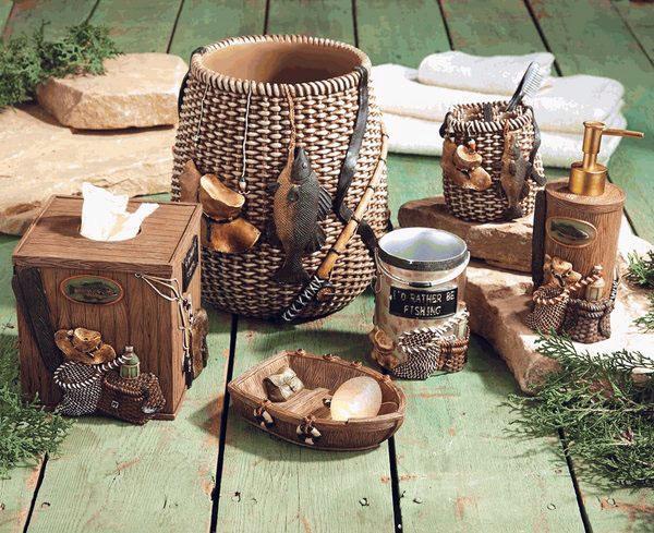бревенчатый домик-декор-идея-ванная комната-аксессуары-ванная-украшения-идеи