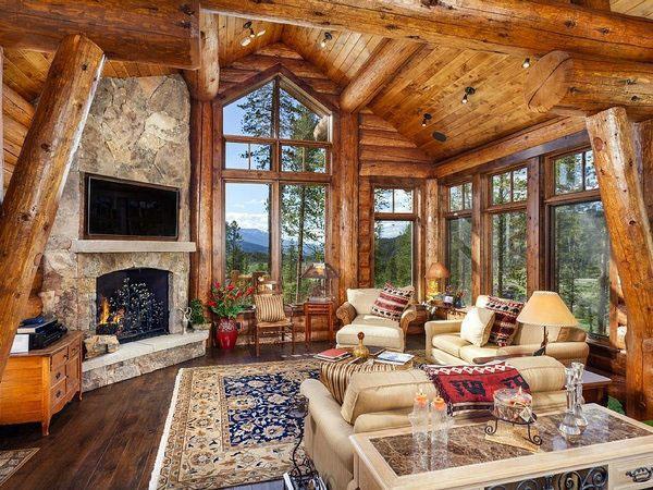 Лоджия, декор, идеи для гостиной, каменный камин.