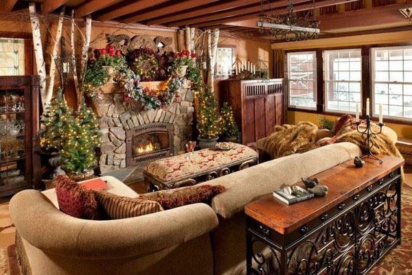бревенчатый домик-дом-украшения-идея-деревенская-декор-идея-диван