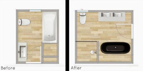 Реконструкция малой ванной комнаты.
