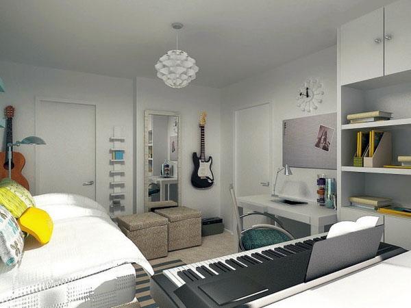Современные спальни для подростков, нейтральные цвета музыкальные инструменты.