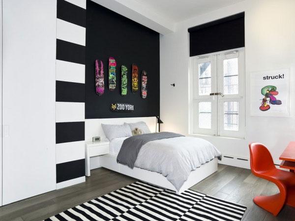 Современная подростковая комната черный белый интерьер.