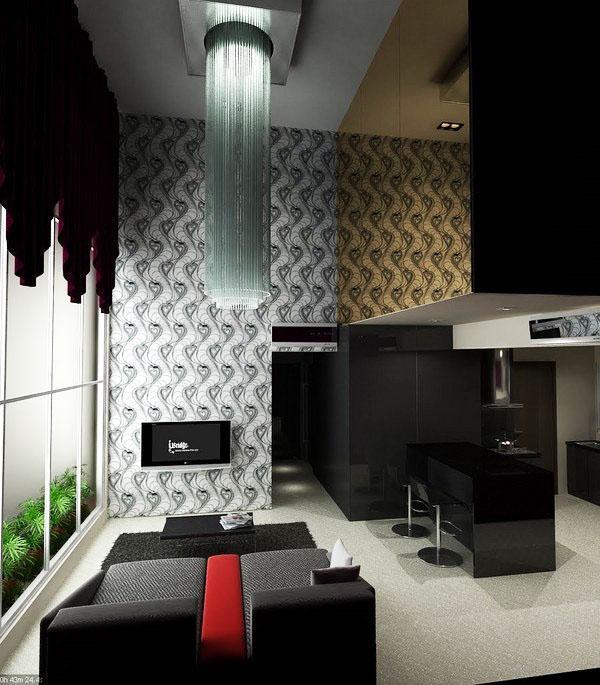 Дизайнерские идеи черный серый интерьер диван занавески.