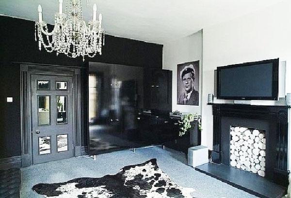 Интерьер черной гостиной.