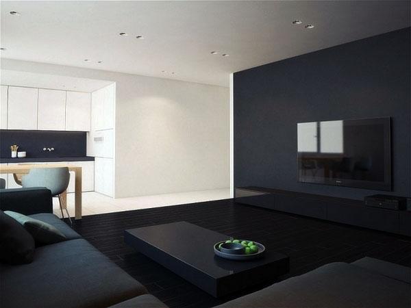 Черно-белый дизайн интерьера черный коврик.