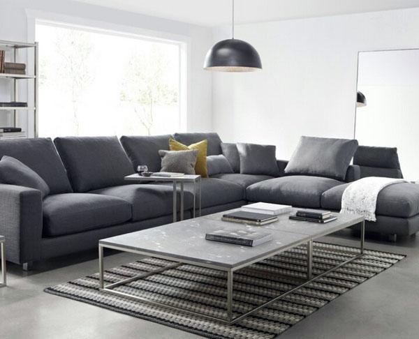 Дизайнерские идеи, стильный серый современный диван.